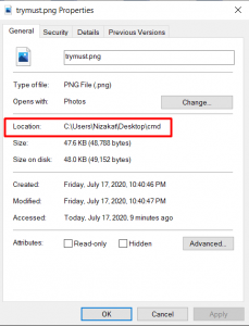 Find a File and Folder Path On Windows 10
